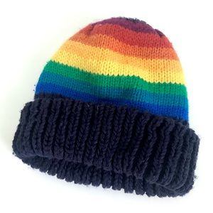 Vintage 80's rainbow striped knit beanie ski hat